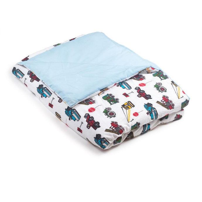 Trucks Flannel / Blue Cotton Magic Weighted Blanket - Magic Weighted Blanket