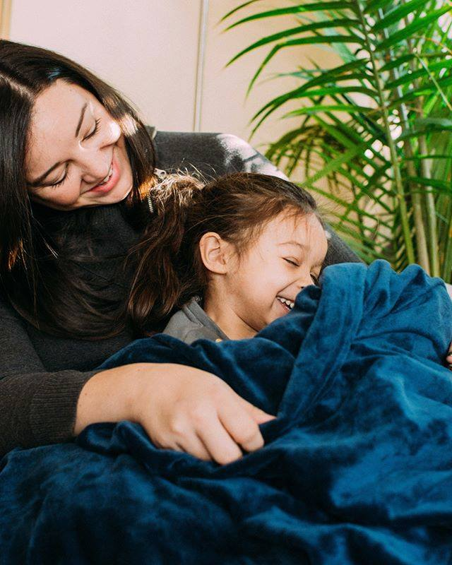 Navy minky weighted blanket
