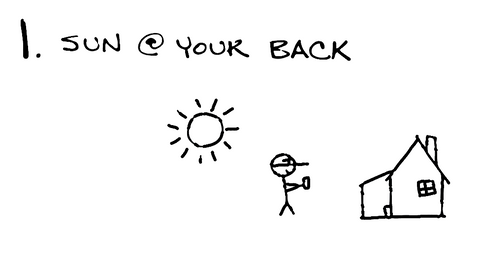 Keep the sun at your back.