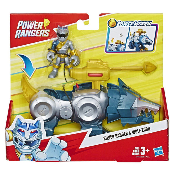 POWER RANGERS FEATURE ZORD Y FIGURE - SILVER RANGER Y WOLF ZORD E5866