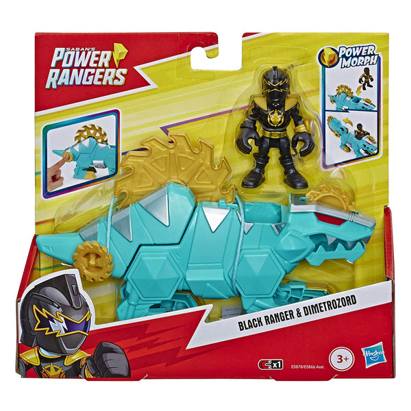 POWER RANGERS FEATURE ZORD Y FIGURE - BLACK RANGER Y DIMETROZORD E5866