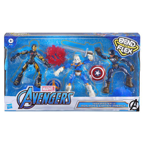 AVENGERS BEND AND FLEX 3 PACK - IRON PATRIOT CAPITAN AMERICA SUPERVISOR E9198