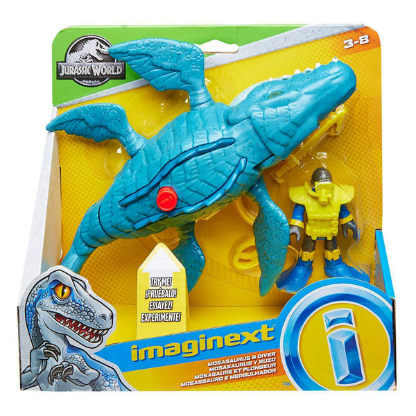 FISHER PRICE IMAGINEXT JURASSIC WORLD - MOSASAURUS Y BUZO MATTEL FMX88