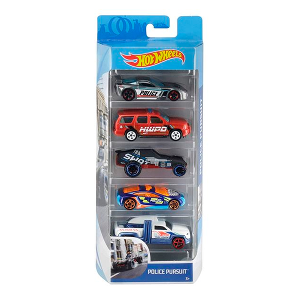 HOT WHEELS PAQUETE DE 5 - POLICE PURSUIT 1806