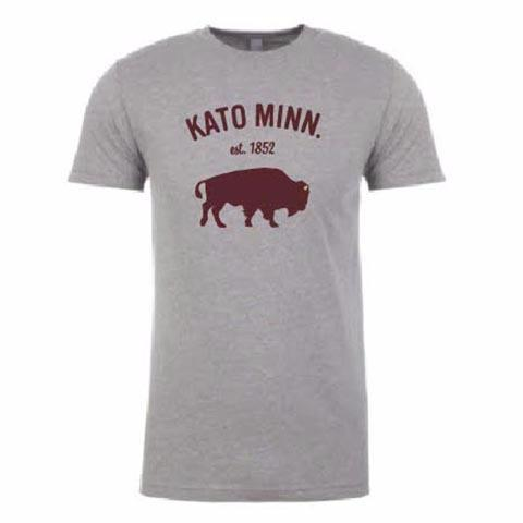 Kato Bison Tee in Heather Gray and Maroon