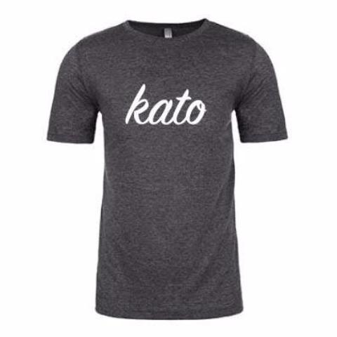 Kato Script Tee in Charcoal/White