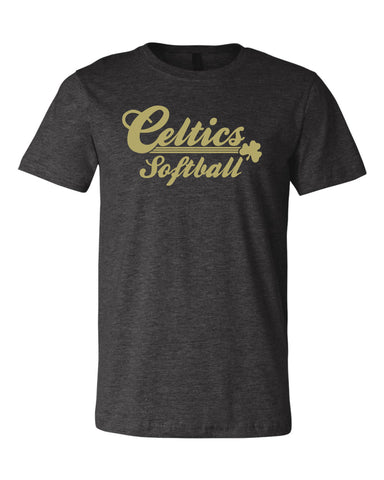 Triblend Shirt with Vegas Gold Celtics Softball Design