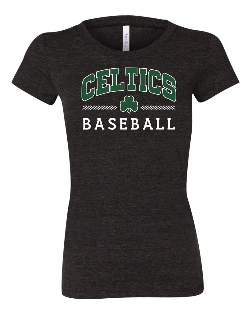 Ladies Triblend Shirt with Green and White Celtics IC Baseball Design