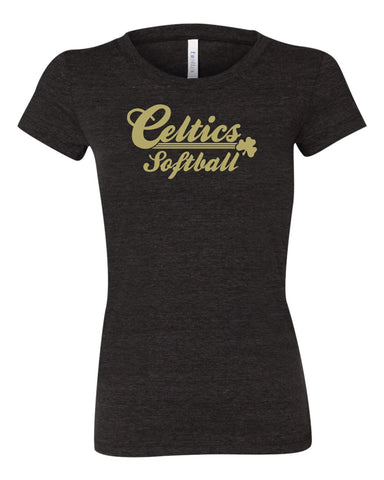 Ladies Triblend Shirt with Vegas Gold Celtics Softball Design
