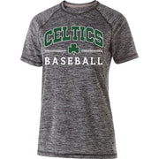 Ladies Electrify Shirt 2.0 with Dark Green and White Celtics Baseball Design