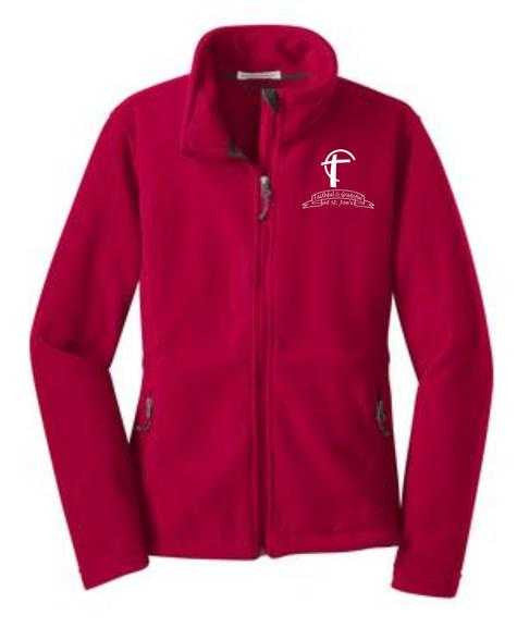 Ladies Fleece Jacket with St. Joes Faithful and Grateful Cross Logo
