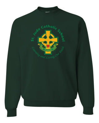 Youth Crew Neck Sweatshirt with Full Front Cross Logo