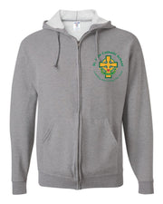 SPIRITWEAR Youth Full Zip Hooded Sweatshirt with Left Chest Cross Logo