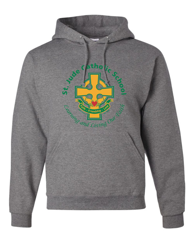 Adult Hooded Sweatshirt with Full Front Cross Logo
