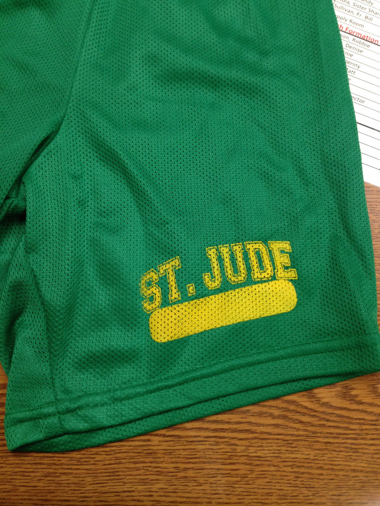 GYM SHORTS UNIFORM Forest Green 6in or 7in with Gold Left Thigh Cross Logo and Name Bar