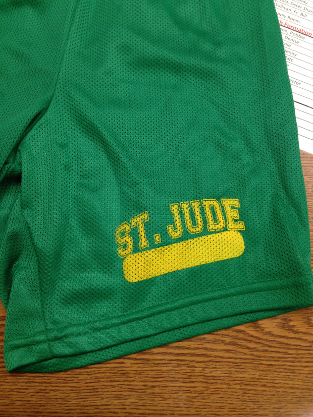 GYM SHORTS UNIFORM Adult Forest Green 7in with Gold Left Thigh Cross Logo and Name Bar