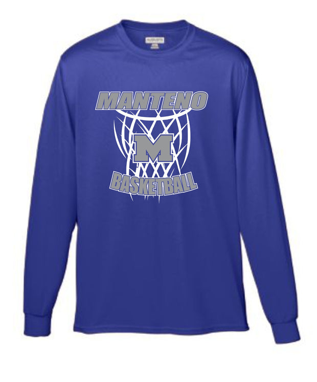 Purple Wicking Long Sleeve Shirt with Gray and White Manteno Basketball Design