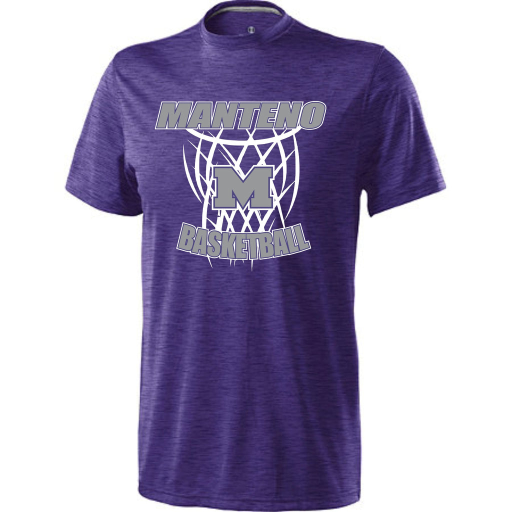 Purple Electrify Shirt with Gray and White Manteno Basketball Design