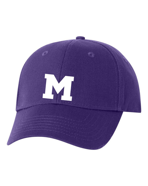 Baseball Style Cap with Embroidered Block M Design