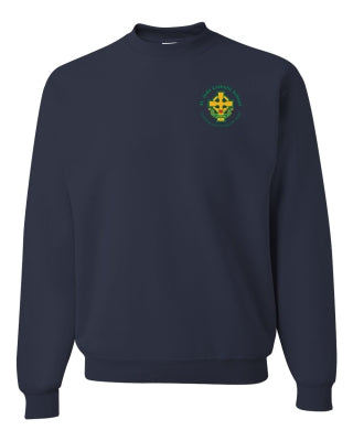 Youth Crew Neck Sweatshirt with Left Chest Cross Logo