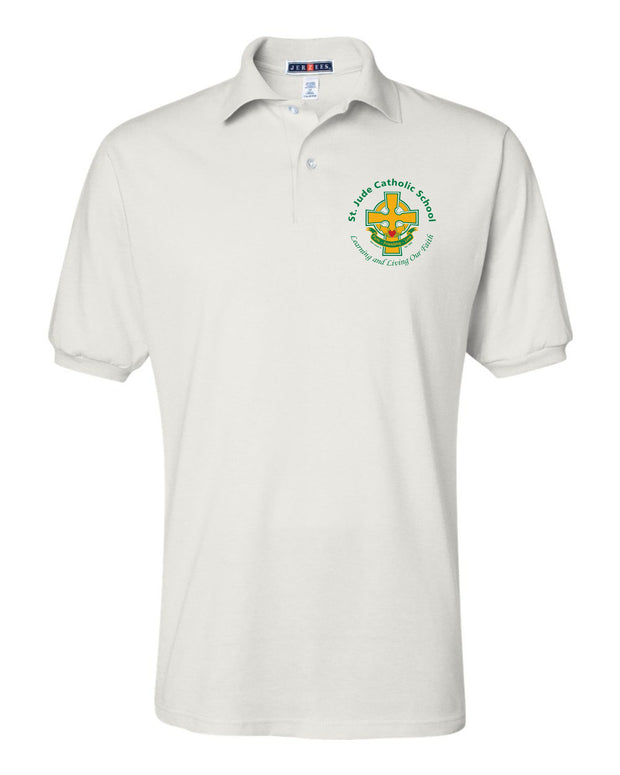 Youth White Uniform Polo with Left Chest Cross Logo