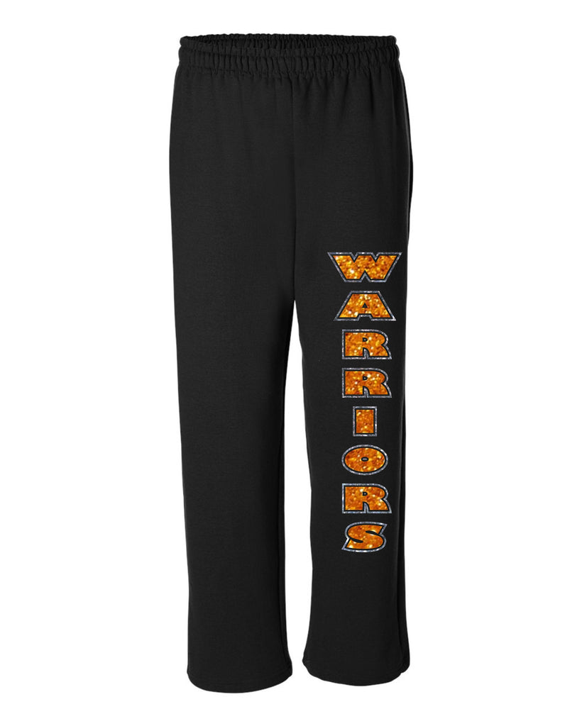 Open Bottom Sweatpants with Warriors Glitter Design