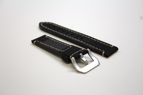 Black Classic Leather Watch Band