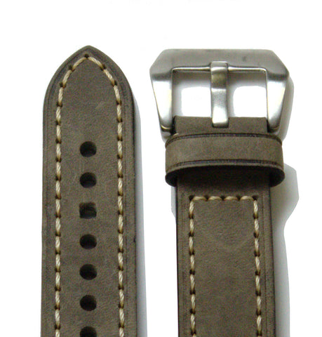 Gray Classic Leather Watch Band
