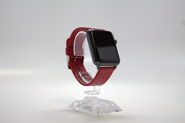Red Sport Leather Watch Band