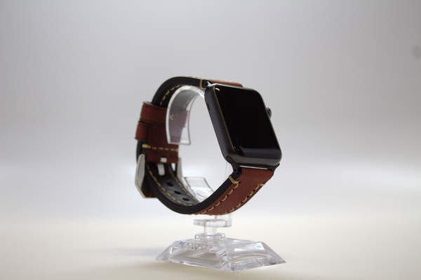 Red Classic Leather Watch Band