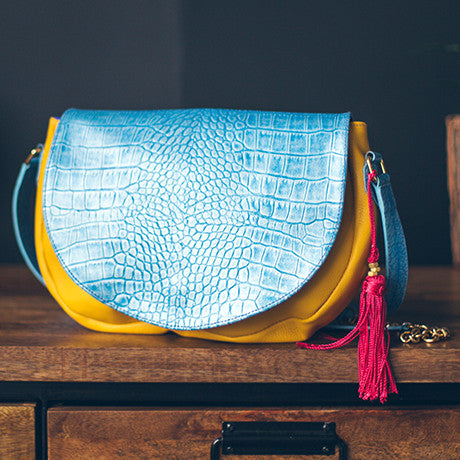 Le Bedford Handbag: Turquoise & Yellow Folly