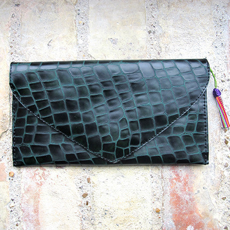 The Ella clutch: Green Croco