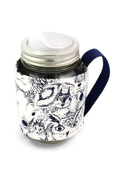 Mason Jar Sleeve - Forest Creatures, Navy