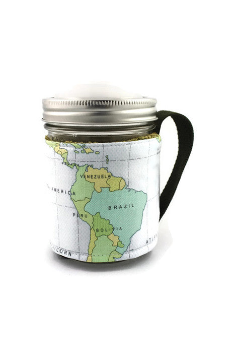 Mason Jar Sleeve - World Map