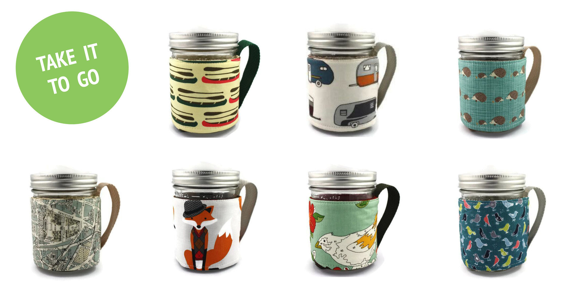 Refluff Mason jar travel mugs. Ecofriendly & sustainable. Made in Canada.