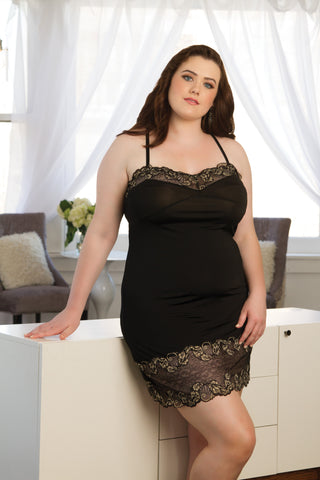 Essential Low Back Chemise Black - Tia Lyn