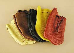 Large Leather Cornmeal Bags by Max Hand, Oregonian