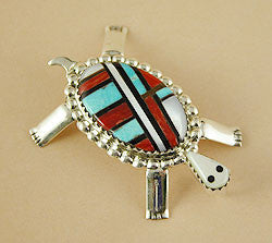 Inlaid Turtle Pin/Pendant by Wayne Haloo