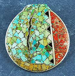Mosaic Pin/Pendant by Mary Frances Coriz, Kewa (Santo Domingo)