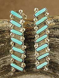 Turquoise Petit Point Earrings by Roxanne Seowtewa