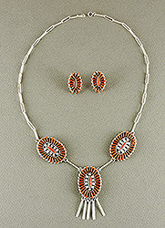 Red Coral Petit Point Necklace & Earring Set by Ed Cooeyate