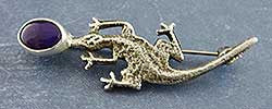 Lizard Pin by Joel Pajarito, Kewa (Santo Domingo)