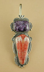 Charoite & Spiny Oyster Shell Maiden Pin/Pendant by Herbert Ration, Dine (Navajo)