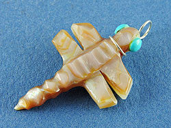 Pink Mussel Shell Dragonfly Pendant by Reva Halate
