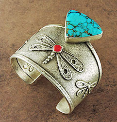 Kingman Turquoise & Red Coral Dragonfly Cuff Bracelet by Joel Pajarito, Kewa (Santo Domingo)
