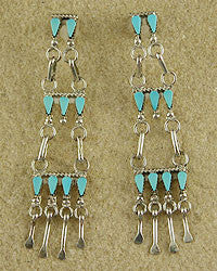 Turquoise Petit Point Earrings by Cheryl Johnson