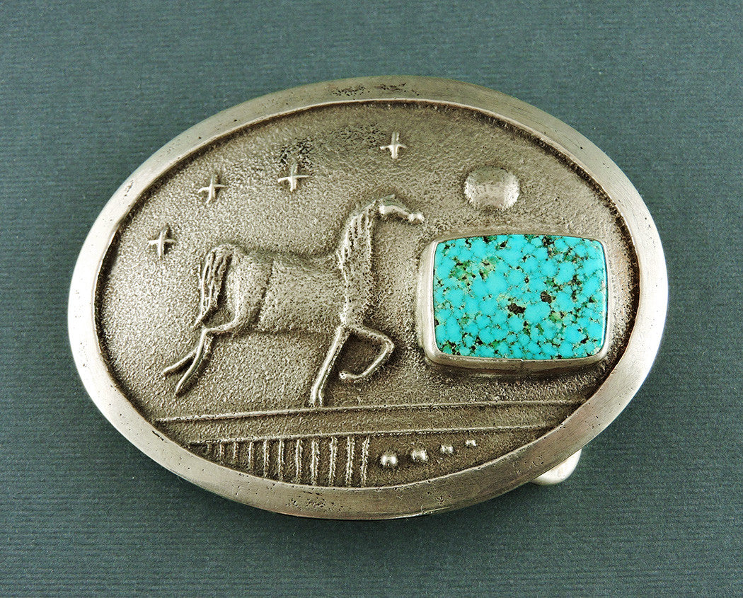 Kingman Turquoise & Horse Belt Buckle