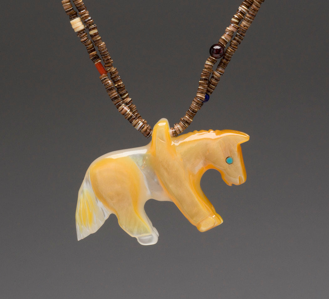 Reversible Gold Lip Shell Horse Pendant Necklace