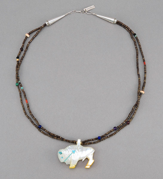 Reversible Mother-Of-Pearl Bison Pendant Necklace