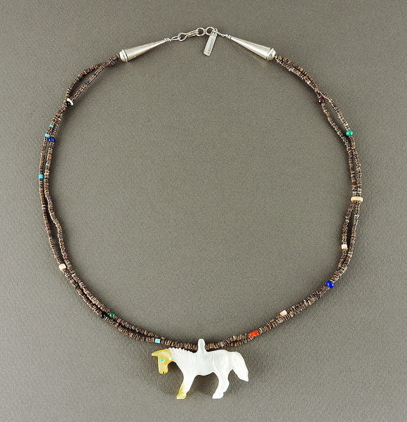 Reversible Mother-Of-Pearl Horse Pendant Necklace